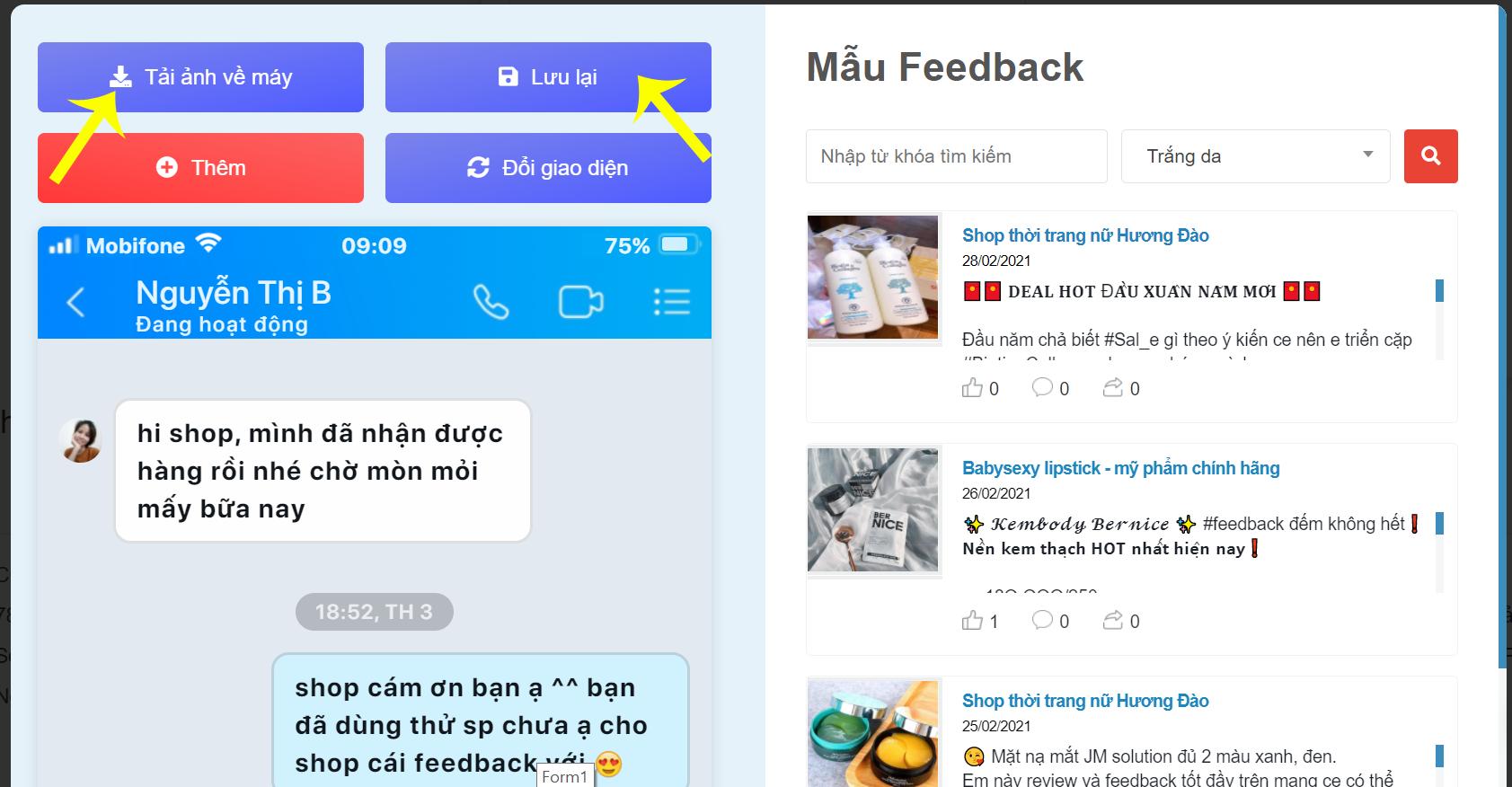 Lưu feedback đã tạo - Kingcontent.pro